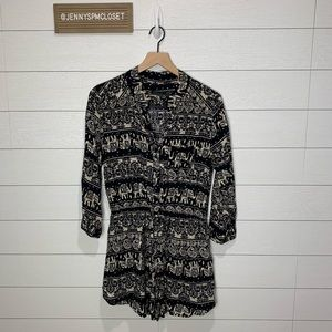 CALS Large Navy/Cream Elephant Print Dress